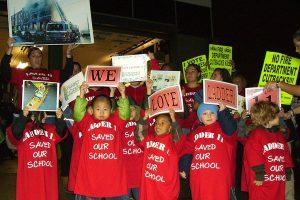 School kids helping the effort against the closures.