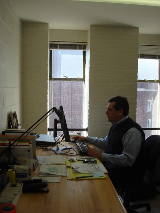 Executive Director of PennPraxis Harris Steinberg works on his civic vision from his office in the Fisher Fine Arts Library on the University of Pennsylvania campus.