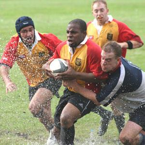 The Gryphons fight to keep the ball during one  of their games