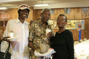 Ella Moore, Ray Clark and Christine Brown after their meal at Share A Blessing Ministry.