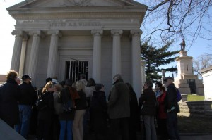 """This is the site of the Widener family, but only Peter Widener's name is on the building. """"He paid the bills; he got top billing!"""" said tour guide Joseph Edgette."""