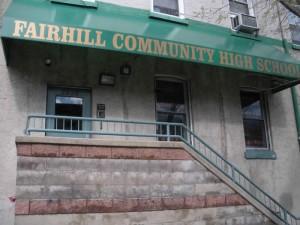 Fairhill Community High School's unassuming entrance