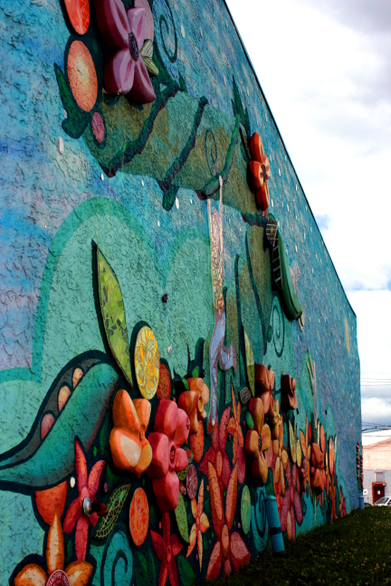 Murals such as this three-dimensional mural are part of the beautification that LLLCA has been employing throughout the neighborhood.
