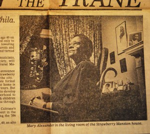 A Philadelphia Inquirer article on file at Historical Commision featuring Mary Alexander.