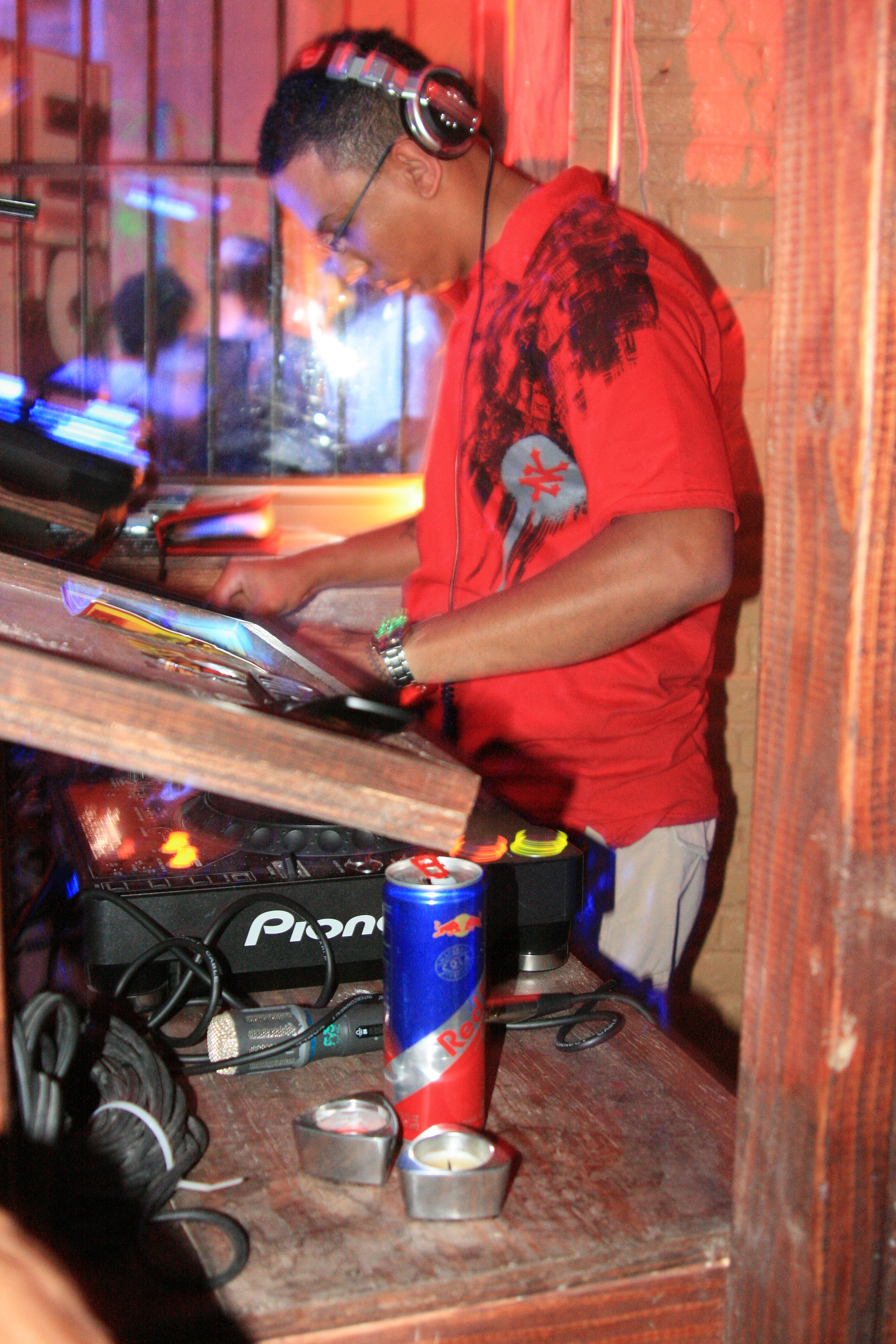 DJ Freedom providing house music for the Release party.