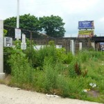 An overgrown vacant parking lot on Allegheny Avenue is not pleasing to the eye.