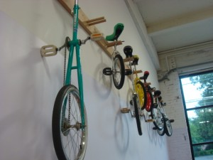 Wall of unicycles at the circus school