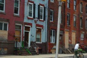 Abandoned and rundown homes off of Ridge Avenue.