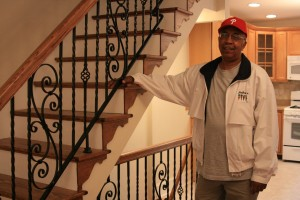 Warren McMichael, president of the Brewerytown/Sharswood Community Civic Association, in the home he recently rehabbed.