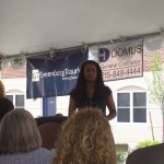 Lisa Nutter addresses the crowd for the celebration of Evelyn Sanders Phase I.