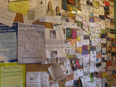 This neighborhood bulletin board is full of holistic services