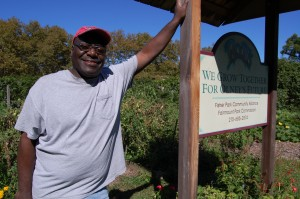 Armond Rice is proud to show off his community garden