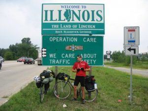 Tim Walsh at the last stop on his three month bicycling trip.
