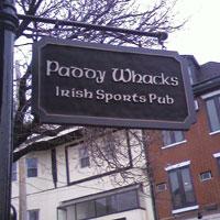Paddy Whacks sign