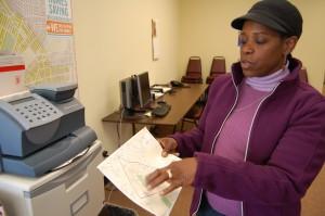 Margaret Shepherd shows a map of West Oak Lane