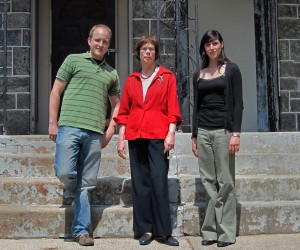 (From left to right)Cody Ray, Dr. Joan Weiner and Aleksandra Wolchasty standing in front of the Drexel Smart House
