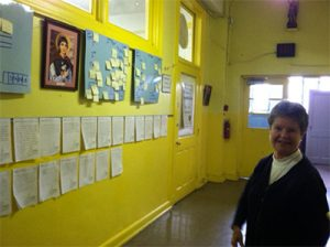 Principal Sister Rita Murphy showcased students' work in the hallway of Saint Rose of Lima.