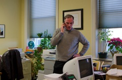 Brien Tilley, president of the Chestnut Hill Community Association in his office.