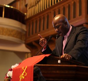 The Rev. Terrence D. Griffith preached before parishioners who gathered for worship services at the First African Baptist Church Feb. 24.