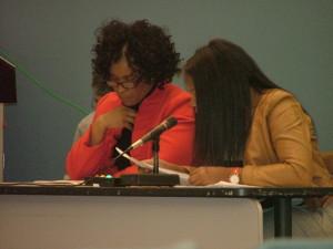Linda Cliatt, principal of Strawberry Mansion High School and Kala Jonestone, principal of L.P. Hill Elementary spoke at the first of three SRC public meetings regarding the closing of 29 Philadelphia public schools.