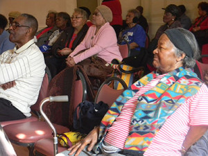 Senior citizens gathered at Center in the Park for entertainment on Valentine's Day.