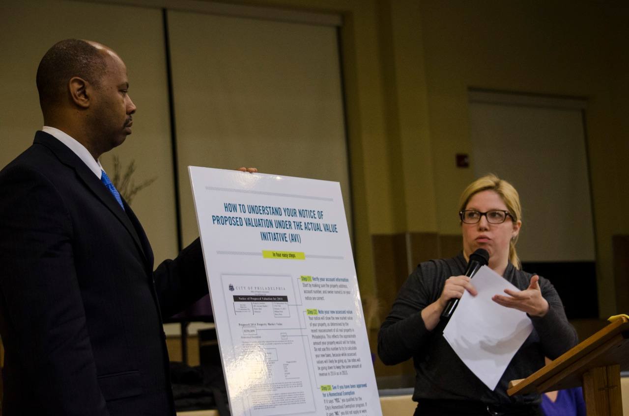 Kate Dreher and Richie McKeithen, explained how to understand the upcoming property value reassessments to Chestnut Hill residents. Photo Credit: Max Pulcini