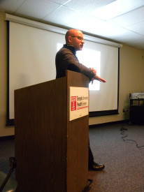 Scott Charles teaches a Germantown High School class about the consequences of gun violence.