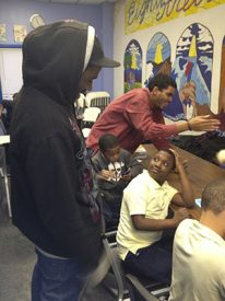 Volunteer Keith Joseph helped the kids do their homework.