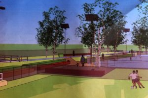 """Shissler Recreation created this model of """"Cutman"""" Memorial Turf and the surrounding parks."""