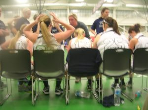 Brianna O'Donnell takes a timeout to lecture her players during their first round playoff game.