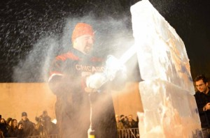 """The 2012 Manayunk on Ice festival kicked off with a """"Fire and Ice"""" opening ceremony on Friday night. (Max Matza/for NewsWorks)"""