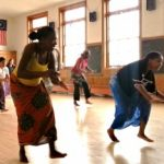 Angela Watson, right, takes part in one of the biweekly African dance classes offered.