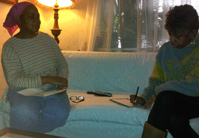 Sharon Whaley (left) and Karen Wheeler (right) work together to promote voting in Hunting Park.