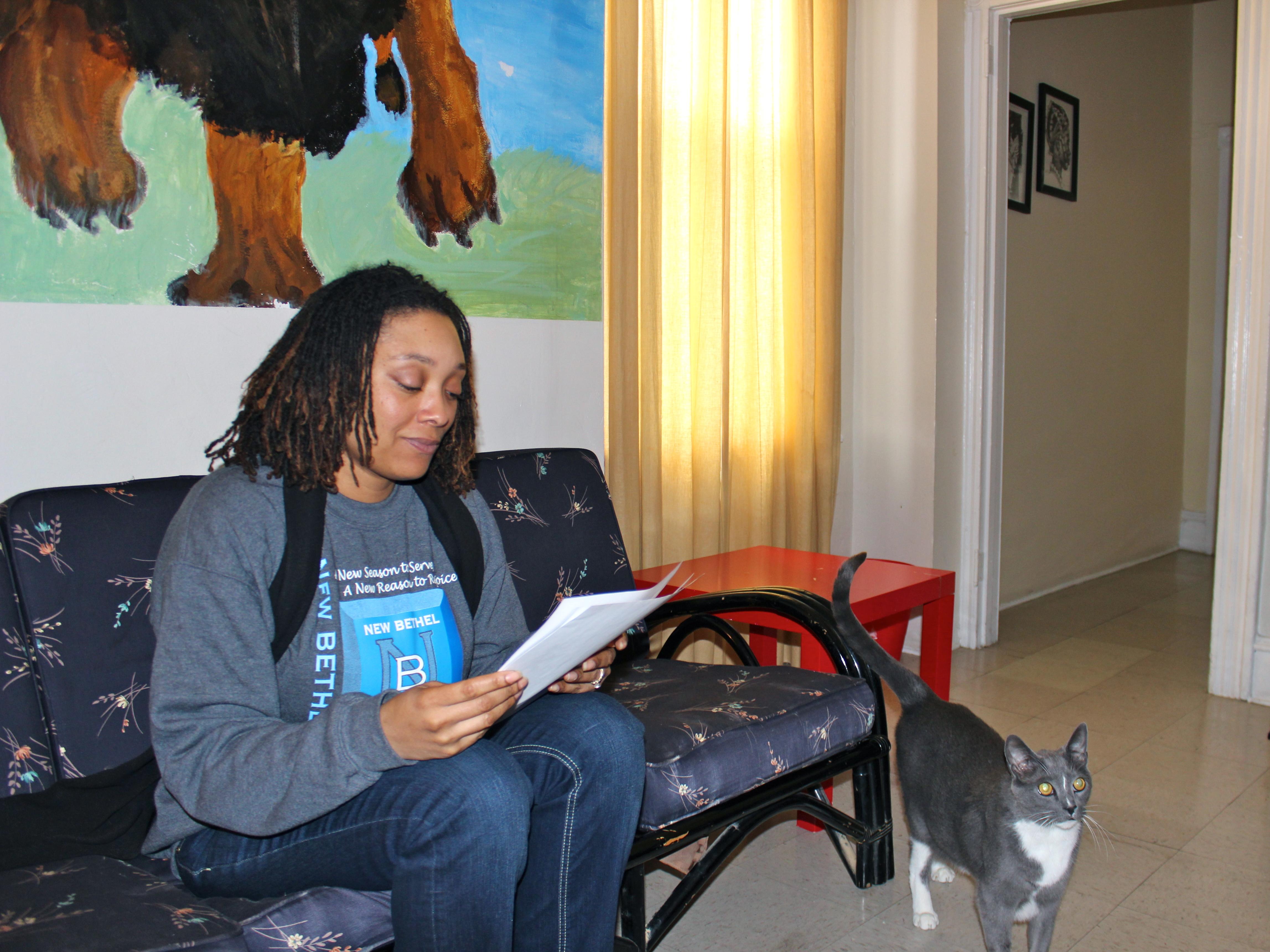 Charmaine Sudler Milligan reviewing paperwork regarding the upcoming classes.