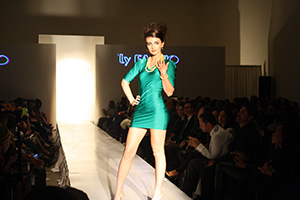 Model at the end of the runway.