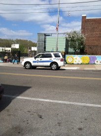 A Philadelphia School Police officer is on patrol outside Wilson Elementary near the end of the school day.