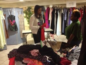 Volunteers sorted over 500 gowns for the girls to look through.