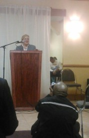 Tracey Roman spoke at the Candidate Forum.