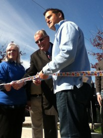 Joseph DeFelice celebrated the ribbon cutting at the debut of the Mayfair Farmer's Market.