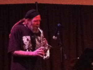 Elliott Levin of BLEW 4-tet played the saxophone during the band's performance.