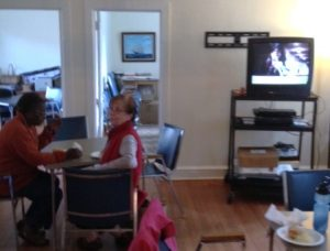 """Senior residents came out to watch """"Moneyball"""" and enjoy homemade soup."""