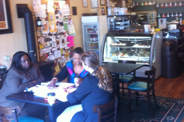 Customers enjoy coffee at Reed's Coffee and Tea House on Lancaster Avenue in Mantua