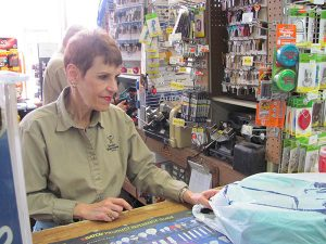 Sheila Glassman bagged the items the customer purchased.