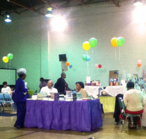 Vendors and patrons at the Zion Baptist Book Fair.