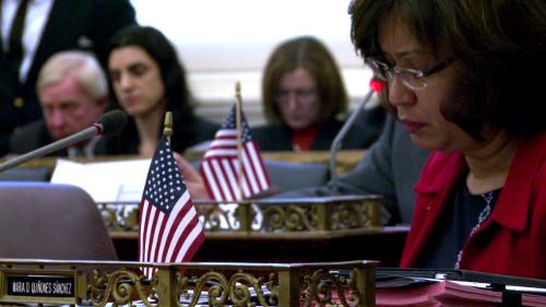Councilwoman Maria Quiñones-Sánchez spoke during a council session.