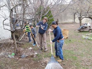 Katrina Rakowski (left) with neighbor Cathey White (right) organized the first clean-up of the season on March 31.