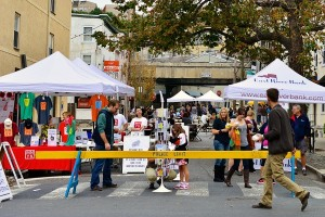 Food trucks and white tents were set up along Manayunk's Main Street and side streets for last years event. (Bas Slabbers/for NewsWorks)