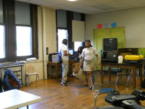 Students at Vaux stay after school to use the computers in their classrooms.