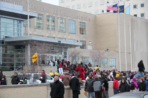 Protestors gathered outside the School District of Philadelphia in March.