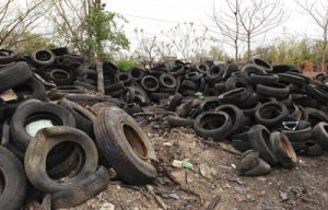 Just some of the tires dumped by ConRail's train track.
